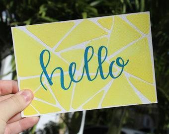Yellow Triangle Hello Postcard