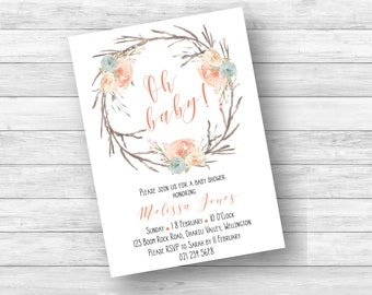 Rustic Floral Wreath Baby Shower Invitation, Watercolor Floral Wreath Baby Shower Invitation