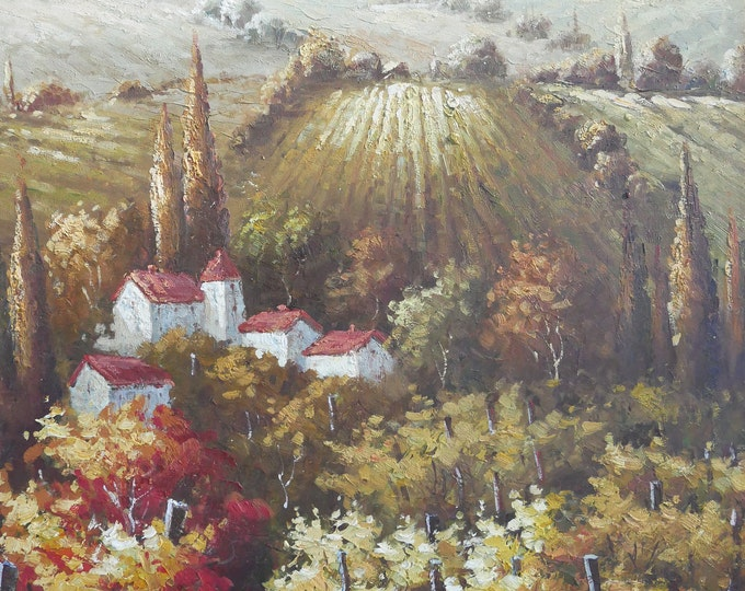 Tuscan Art Mediterranean Painting Italy Handmade Oil on Canvas  Wall Art Beautiful Decor