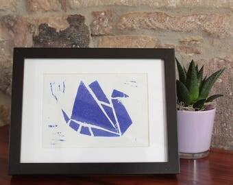 A5 linocut decoration - Origami bird - blue