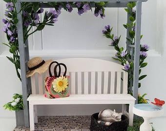Dollhouse Bench, Miniature Trellis and Bench, Dollhouse Furniture, Handmade, OOAK
