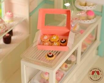 Miniature Tarts with Box, Miniature food, Dollhouse food, Dollhouse desserts, 1:12 scale, Miniature desserts, Doll Food