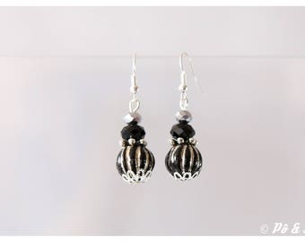 Earrings black and silver gray #0892