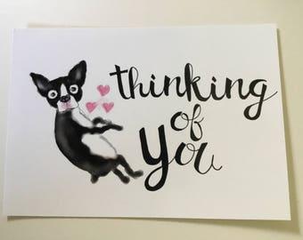 "Boston Terrier ""Thinking of you"" Postcard"