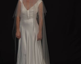 "2-Tier 30""/108"" Swarovski Crystals Scattered Cathedral Veil - Sparkling circle veil with raw/cut edge"