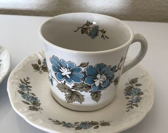 Blossomtime Staffordshire Blue Floral Tea Cups and Saucers- Hand Decorated- Made in England