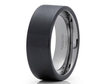 Gunmetal Tungsten Wedding Band Tungsten Carbide Engagement Band Black Tungsten Wedding Ring Men & Women Ring