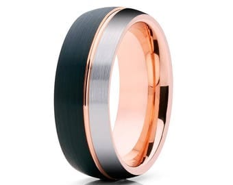 Rose Gold Tungsten Wedding Band Black Tungsten Wedding Ring Anniversary Men & Women Tungsten Wedding Band Black Tungsten