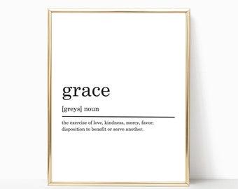 Grace Definition Print, Modern Home decor, Grace poster, Printable Poster, Bedroom Print, Bedroom Decor, Typography Art, DIGITAL DOWNLOAD