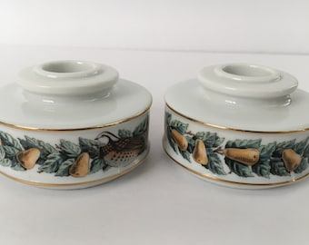 Vintage Pair of Avon Ceramic Candle Holders 12 Days of Christmas Partridge Pear Tree 14K Gold Trimmed 1980