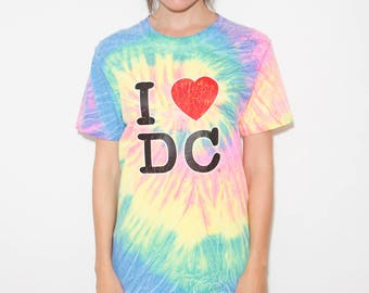 Rainbow, I Heart DC, 90s, Washington DC, 90s Tshirt, Rainbow Tshirt, Rainbow Top, Tie Dye, Rainbow T-shirt, Rainbow Shirt, Small, Unisex