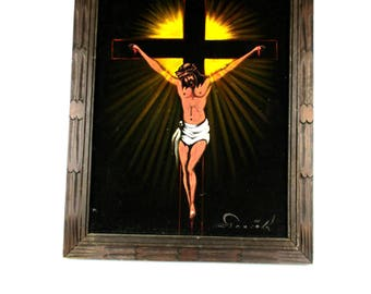 Vintage Crucifixion Black Velvet Art Wall Hanging Mexico,1960s Artist Signed Oil of Jesus on Cross Black Velvet Kitschy Religious ART