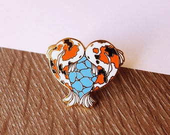 SECONDS Heart Kois Hard Enamel Pin - Gold Plated Lapel Pin