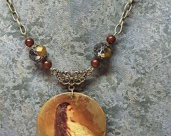 Vintage Empress Sissi old portrait Medallion necklace
