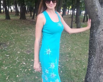 Everyday blue dress made of elastic fabric cotton with hand painted flowers