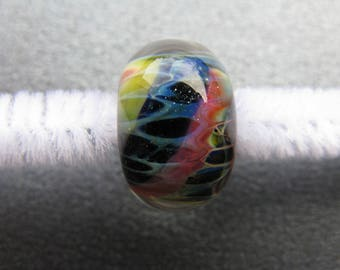 BORO Lampwork Focal Bead, Lampwork Focal Bead, Rainbow Lampwork, Midnight Blue, Sapphire Blue, Hot Pink, Coral, Yellow, Sparkles - HGD2604