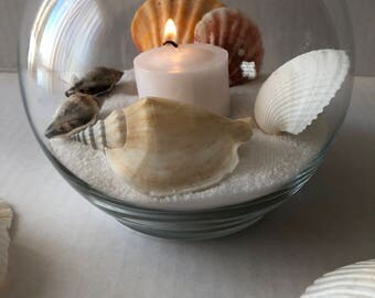 Seashell centerpiece. Beach theme. Home decor. Wedding. Party. Sand. Candle.
