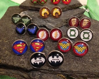 Superhero Cufflinks, Superhero Tie Clips, Superhero Tie Bars, Superhero Cuff Links, Superhero Wedding, Superhero Jewelry