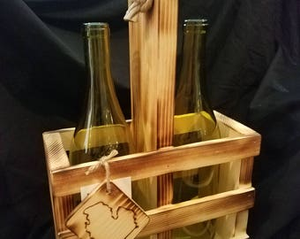Two wine/liquor bottle gift crate
