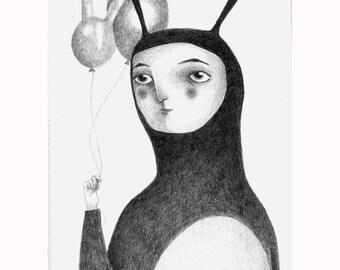 "Illustration ""Rabbit"" numbered prints"