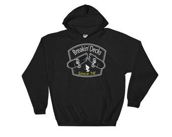 Retro Skater Graphic Design Style Hooded Sweatshirt,  Skateboard Hoodies, Skater Hoodie, Skateboard Deck Skater Clothes, Skateboarder Gift