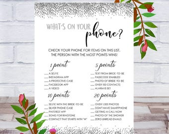 What's On Your Phone, Bridal Shower Game, Printable, Bachelorette Party, Cards, Size 5x7, Silver Confetti, Instant DIGITAL DOWNLOAD