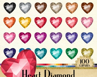 100 Heart Diamond Clipart, Diamond Clipart, Heart Clipart, Valentine Clipart, 100 PNG Clipart, Planner Clipart, Wedding Clip Arts