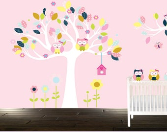 Pink, Aqua, Floral Fields, Owl tree wall decal, Girl's room wall decals, Owls, Birds, Girl's owl stickers, Girl's nursery decals,, Flowers