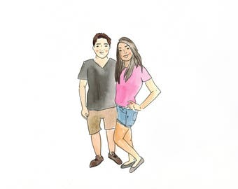 Custom couple illustrated portrait