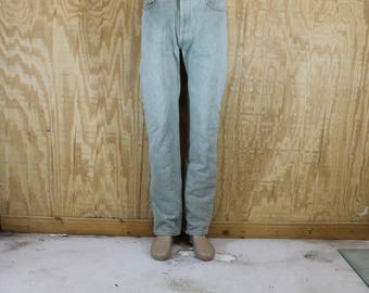 Vintage 1970's 80's LEVI'S 501 XX Button Fly Sage Green Cotton Denim Blue Jeans Red Tab High 32 X 32