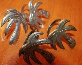 Palm Tree Napkins Rings Set of 4