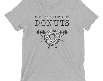 Donut shirt - Funny Donut - Lifting Weights - Exercise - soft grey shirt