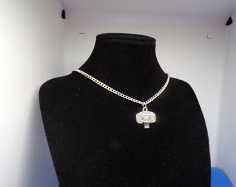 Silver basketball charm necklace