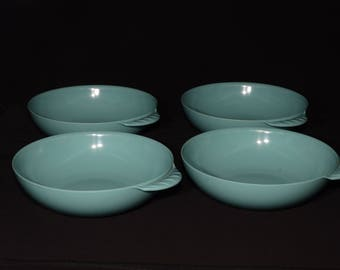 Vintage, Set of 4, MELMAC, Turquoise blue, medium bowl, handle, aqua blue, Mid century, Hard Plastic, Melamine, Dinnerware, Canada, rare