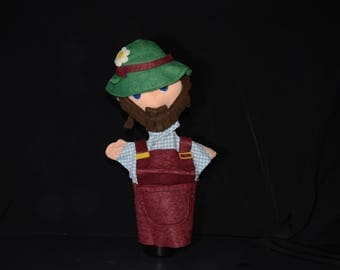 Vintage Czechoslovakia hand puppet  huntsman, glove puppet, felt, high quality puppet theatre handstand doll,handmade, MONA, Czech with tag