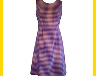 Coral and lavender gingham cotton dress