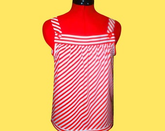 Top with straps in red and white striped cotton