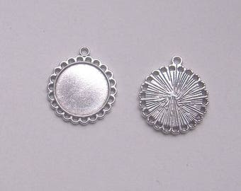 Set of 10 20 mm silver tone CABOCHON