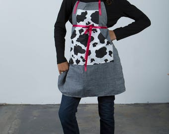 Cute Apron with Fun Pockets and Adjustable Sashes - One Size Fits All PDF Instant Downloadable Pattern