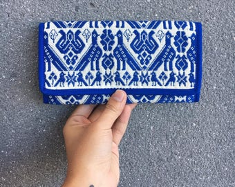 Hand embroidered wallet with mexican design