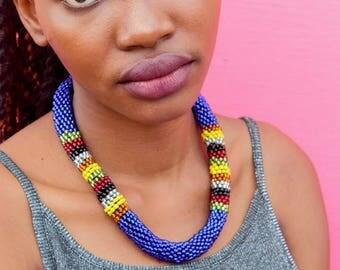 Crochet blue beaded necklace
