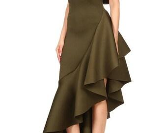 Off the Shoulder Asymmetrical Ruffle Hem Dress