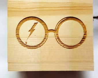 Harry Potter Slid Top Music Box Hand Crank Musical Movement Engraved Wooden Hedwigs theme Personalized Gift-Glasses Deathly Hallows Wand