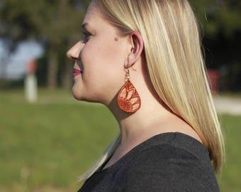 Linneya Sunflower Teardrop Earrings | Leather Earrings | Birthday Gift | Anniversary | Gifts under 25 | Handmade | Gifts for Her