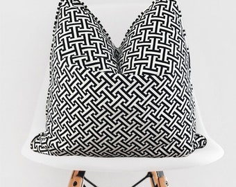 Black and White Pillow Cover / Decorative Trellis Throw Pillow / White Black Pillow Cover / Pillow with Piping