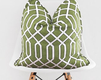 Green White Lattice Pillow Cover / Decorative Green Throw Pillow / Lattice White Black Pillow Cover / Green Pillow with Piping