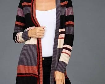 Multi-Colored Stripe Cardigan!