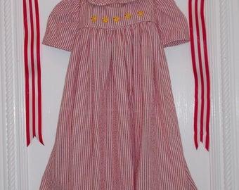 Cotton Baby Girl Dress. 4 to 6 Months. 100% Cotton Searsucker