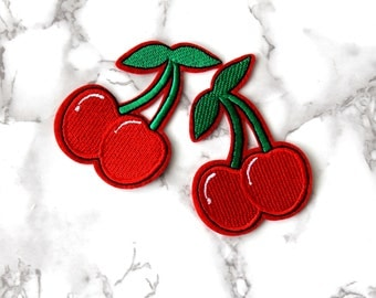 ONE Cool Sexy Cherries Iron On Patch, Fruit Fabric Patch, Embroidered Patch, Free Spirit, Birthday Gifts For Her Under 5, Funny Fashion Gift
