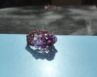 Geometric Purple Swarovski Beaded Ring